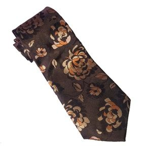 Kailong orange and brown peony print silk tie